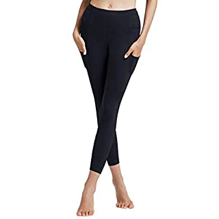 SUNUP High Waist Yoga Pants with 7 Pockets Smooth Leggings for Women Daily Wear Workout Running Tights Black