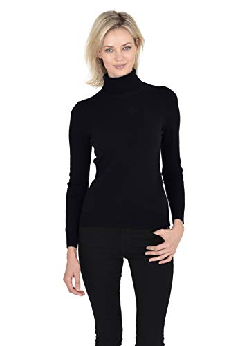 - Cashmeren Women's Wool Cashmere Classic Knit Soft Long Sleeve Jersey Turtleneck Pullover Sweater (Black, XX-Large)