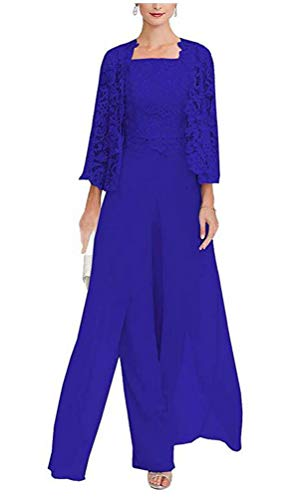 Women's 3 Pieces Chiffon Dress Mother of The Bride Pants Suits with Lace Jacket Wedding Outfit Evening Gown Royal Blue US18W ()