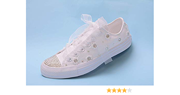 Bling White Pearl Wedding Sneakers For