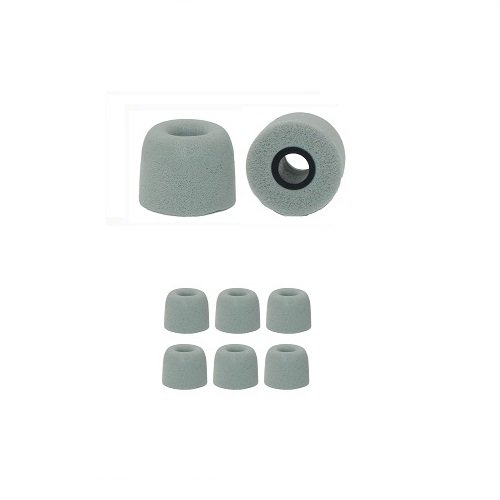 """3 Pairs, Gray - Large - """"Squish Fit"""" memory foam earphone cushions by Earphones Plus - Fits most earbud style earphones (see compatibility details below)"""