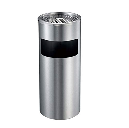 - LQRYJDZ Outdoor Trash Can- Stainless Steel Cylindrical Barrel Cylinder Vertical Ashtray Trash Can Galvanized Inner Barrel,Black/Silver-12L (Color : Silver, Size : 2561 cm)
