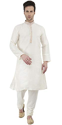 (SKAVIJ Men's Tunic Art Silk Kurta Pajama Set Party Dress (Large, Off-White))