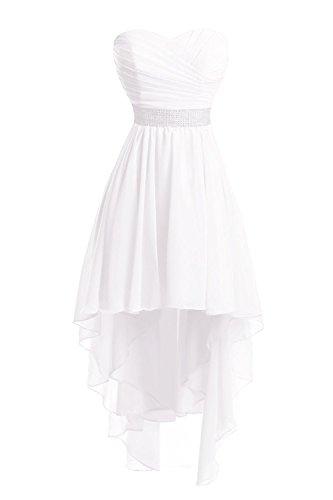 JAEDEN Mujeres Sin Tirantes Vestidos de Dama de Honor Largo Gasa Alto-bajo Vestido de Fiesta Vestido de Noche Blanco