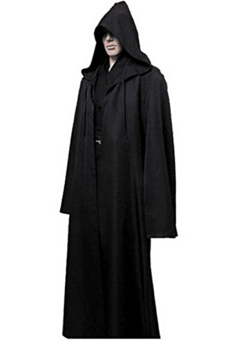 Fancy Black Masquerade Cape (Clearoy Men's Tunic Hooded Robe Cloak Knight Gothic Halloween Masquerade Cosplay Costume Cape L Black)