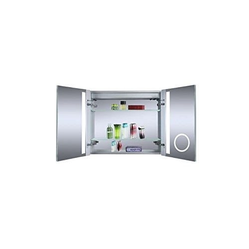 """Innoci-USA Melania LED Recessed Double Door Lighted Medicine Cabinet For Vanity Featuring Built-In Cosmetic Mirror, 3-Prong 120v Electrical Outlet and Adjustable Tempered Glass Shelves 30"""" x 26"""""""