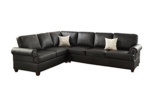 Bonded Leather Sectional - Poundex F7769 Bobkona Cady Bonded Leather Left or Right Hand Reversible Sectional, Black