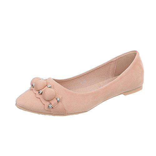 Ital-Design Zapatos Para Mujer Bailarinas Tacón Ancho Bailarinas Clásicas Altrosa C85