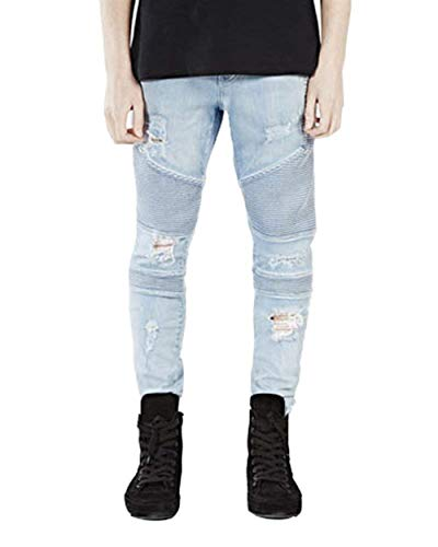Fashion Denim Matita Blau Lunghi Stretch Casual Strappati Dritti Distrutti Mens Semplice Stile Fit Jeans Pants Slim 11xqtFwE