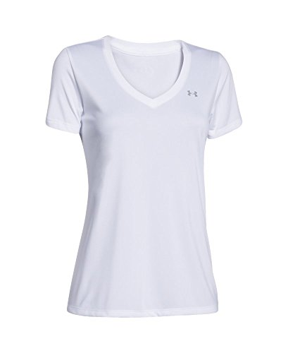 Under Armour Women's Tech V-Neck, White /Metallic Silver, X-Small by Under Armour (Image #3)