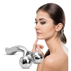 JUFIT Face Body Roller Massager 3D Reface Massager Roller Y-Shape Sliver Face Mask Body - Slim Face