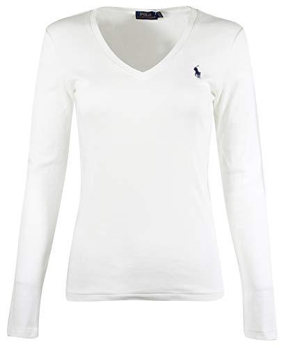 Polo Ralph Lauren Womens Perfect Long Sleeve V Neck T-Shirt (Large, White) (Polo Ralph Lauren T Shirts Women)