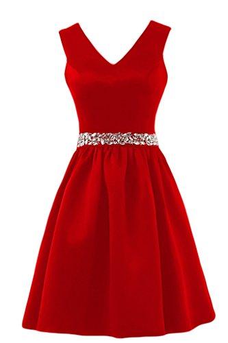 cintura in abiti a da Pantaloncini raso V Gowns sera Neckline semplice Line Sunvary Red con per 016va6
