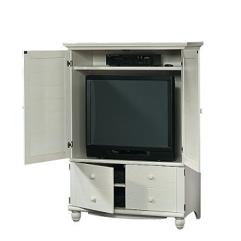Antique White Shutter Door TV Entertainment Center Armoire
