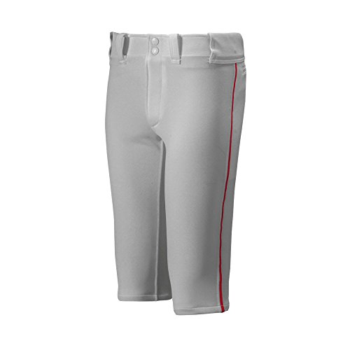 Mizuno Youth Premier Piped Short Baseball Pant, Grey-Red, Youth X-Large - Polyester Youth Baseball
