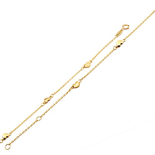LOVEBLING 10K Yellow Gold .50mm Diamond Cut Rolo Chain with 5 Diamond Cut Heart pendants Anklet Adjustable 9'' to 10'' (#18) by LOVEBLING (Image #2)