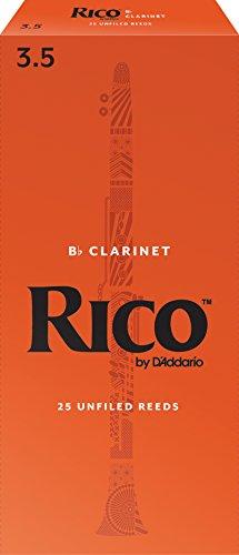 Rico Bb Clarinet Reeds, Strength 3.5, 25-pack