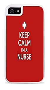 Keep Calm I'm a Nurse White 2-in-1 Protective Case with Silicone Insert for Apple iPhone 5 / 5S