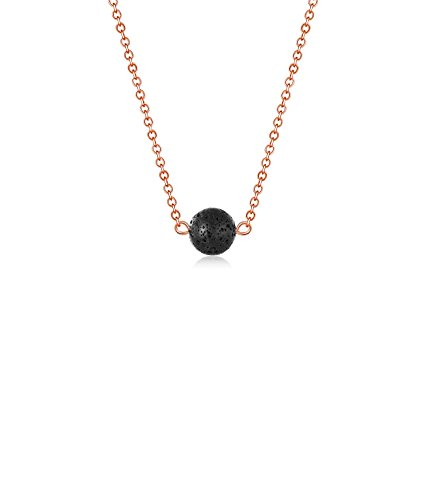 Lava Stone Bead Essential Oil Diffuser Necklace, Lava Ball Essential Pendant Aromatherapy Jewelry with O Chain(Rose Gold) ()