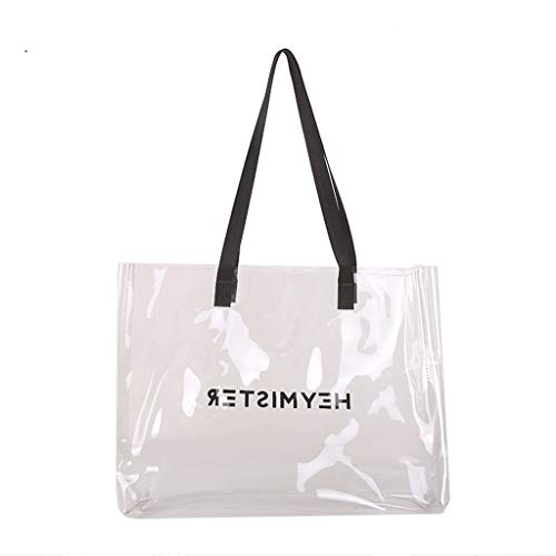 (Women Clear Tote Bag - Ladies Fashion Candy Color Waterproof Transparent PVC Purse - Letter Print Daily Shopping Bags (Clear) )