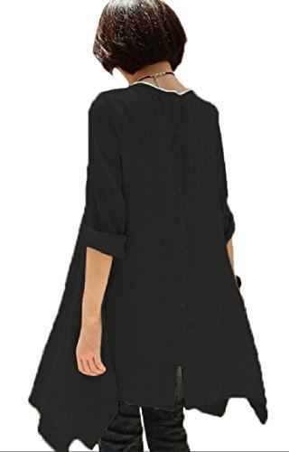 Soft Dress T Stretchy Crewneck Fashion Swing Casual Jaycargogo Shirt Women Black Pockets 4Hfxq6v