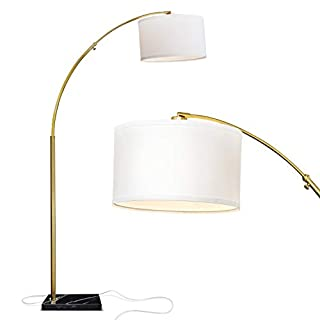Brightech Logan - Contemporary Arc Floor Lamp w. Marble Base - Over The Couch Hanging Light On Arching Pole - Modern Living Room Lighting Matches Decor & Gets Compliments - Gold/Brass