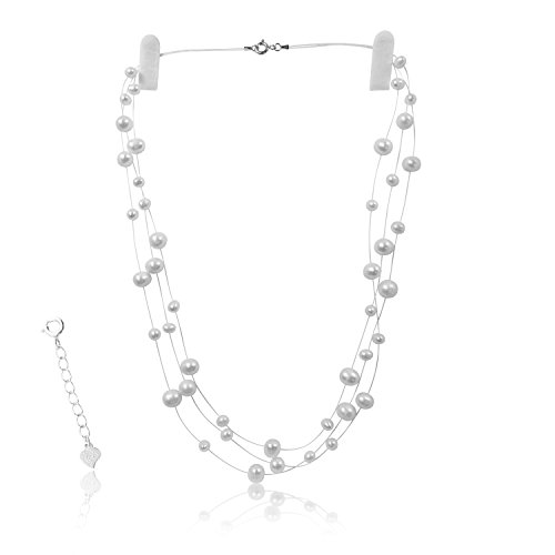 PearlsNSilver Cultured Bridal White Pearl Illusion Necklace 14K White Gold Over Sterling Silver 18