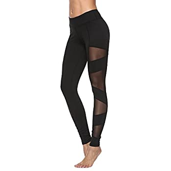 Feivo Yoga Pants, Women's Power Flex Yoga Pants Tummy Control Workout Yoga Capris Pants Leggings,mesh-black5,medium 1