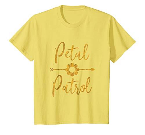 Kids Cute Petal Patrol Flower Girl Arrow & Flowers Kids T-Shirt 4 Lemon