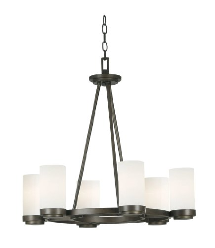 Kenroy Home 91766SBZ Toronto 6 Light Chandelier, Satin Bronze Finish