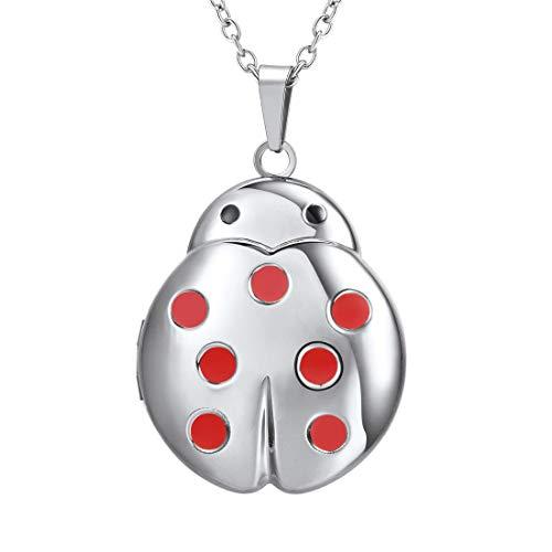 (U7 Flying Ladybug Pendant Red Enamel Stainless Steel Unique Animal Shape Photo Locket Pendant Neckalce)