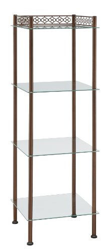 Organize It All 4 Tier Freestanding Tempered Glass Shelf Storage Tower with Bronze Finish