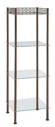 er Freestanding Tempered Glass Shelf Storage Tower with Bronze Finish ()