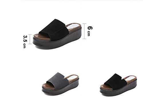 with Waterproof Slippers Slope Women's High a 41 A Muffin Women's on Sandals Fashion sandals Flat Summer Word Size A Slipper Slippers Bottom Color heeled Table xt7wCqYO
