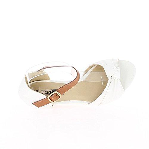 Sandalias de cuña blanca en talón de 6,5 cm con brida