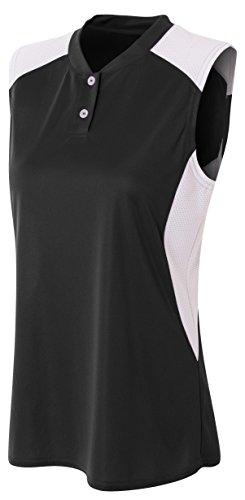 - A4 Womens Sleeveless Contrast Henley, XL, Black/White
