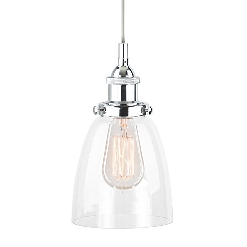 Linea di Liara Fiorentino Polished Chrome One-Light Industrial Factory Pendant Lamp with (Polished Chrome Mini Chandelier)