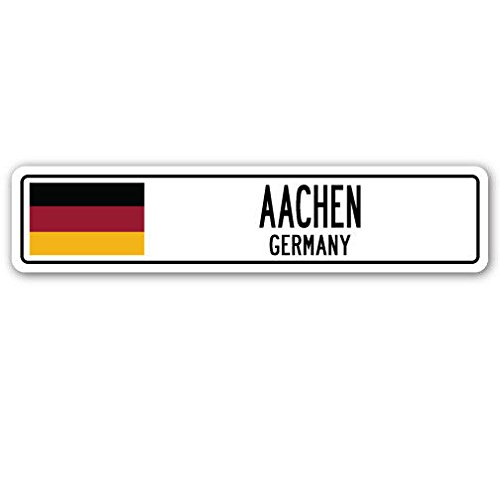 """Cortan360 AACHEN, GERMANY Street Sign Decal German flag city country road wall gift 8"""" Sticker Decal"""