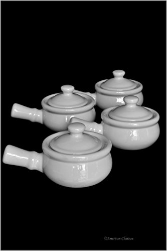 Set 4 Traditional White Porcelain French Onion Soup Bowls Crocks with Handle & Lid (Traditional Porcelain Handle)