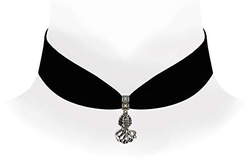 Victorian Vault Black Velvet Choker Steampunk Jewelry Gothic Octopus Pendant Necklace -