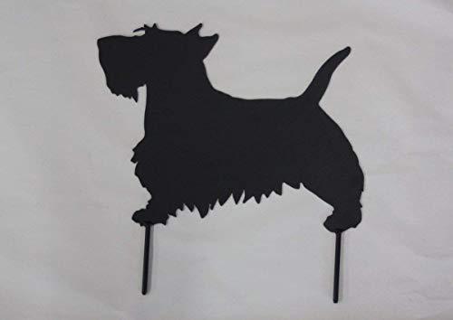 (Scottish terrier scotty dog metal art yard stake powder coated black)
