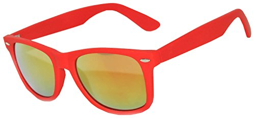 1 Pair Mirrored Reflective Red Lens Sunglasses Red Matte Frame Horn Rimmed - Glasses Red Rimmed