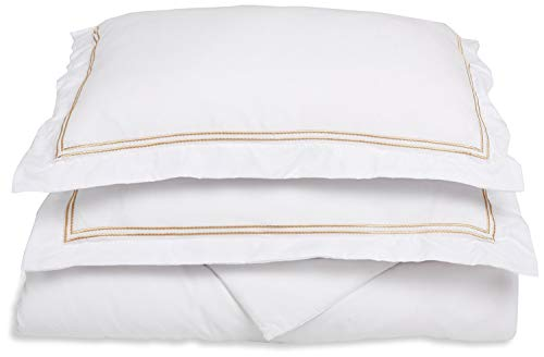 GoLinens Stylish 2-Line Embroidery Trim Microfiber Duvet Cover Set White/Gold/Full/Queen