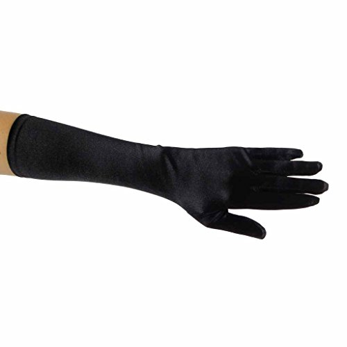 Showstopper Shiny Satin Elbow Length Gloves for Girls (Black, 8-12)