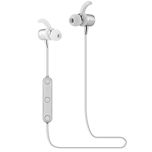 Wireless Headphone Bluetooth Headsets Wearable In-Ear Earbuds for Sports Stereo Noise Canceling with Automatic Switch and Magnetic Wearable Design, Built-In Mic for Hands-free and Sweat Proof (Silver) (Best Polymer International Co Ltd)