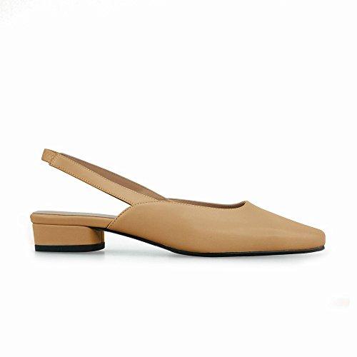 de Zapatos de 40 UN Tacón Y Mujer Vintage Banda Sandalias Real de Elástica Baotou DIDIDD Cortas qp5wPT5