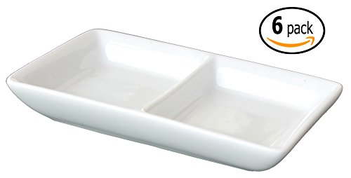 Twin Ceramic Sauce Dish and Pan Scraper, 4.75 inches by 2.75 inches, Bone White, (Ceramic Divided)