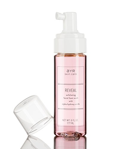 Ayr Skin Care Reveal Exfoliating Foam Facial Wash | Natural, Organic Ingredients | Gentle Alpha Hydroxy Acid Cleanser for Sensitive Skin | 6 fl oz