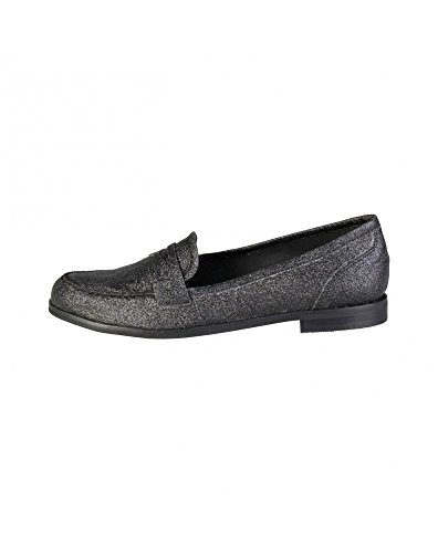 Leather Penny Loafer Black Pierre 1154102 Cardin Flat Women's twqxBfTZ