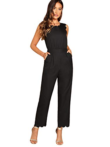 Romwe Women's Sleeveless Scallop Edge Solid Mid Waist Long Pants Jumpsuit Black XS